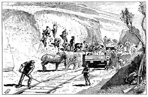 Railway - 1878, men working on a railway cutting
