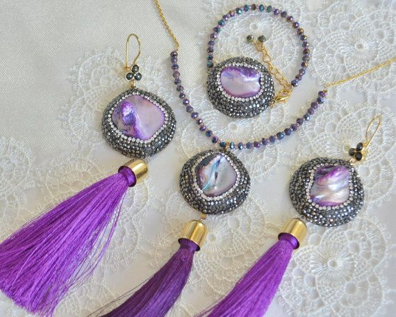 Purple mother of pearl gemstone earrings and necklace set. Turkish ottoman style handmade clay jewelry, long cotton tassel earrings,  #clayjewelry #polymerclay #grandbazaar #istanbul #producer #wholesale #etsy #elegant #sale #discount #fashion #blog #fashionblogger #simple #trendy #chic #necklace #jewelry #turkish #boujix #bridal #accessories #jewelry #bridesmaid #gift #polymer #clay #cz #zircon #clear #crystal #pavejewelry #turkishjewelry #ottoman #hurrem #soophie #tasselnecklac