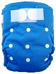 Happy Babes BLUE An All-In-One Nappy is a Modern Cloth Nappy (MCN) where the insert is sewn together with the outer cover. The All-In-One Nappy can be used from birth to toilet training. All-In-One Nappies consist of a waterproof outer which is usually a polyurethane laminated polyester and a cotton micofibre lining that is extremely soft against the baby's skin. They also have a pocket where additional inserts can be added to the nappy for extra absorbency. PACKAGES AVAILABLE