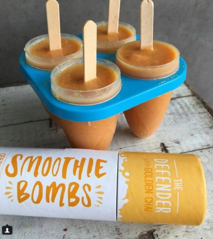 Need a cool treat?  Check out these Golden Chai, watermelon, banana and pineapple icypoles. Recipe & photo from @thesmoothiebombs .  Recipe: 1. In your blender add 1 cup mixed frozen pineapple, watermelon & banana chunks and 1 cup coconut water  2. Crumble in 1 Defender Golden Chai #smoothiebomb for nutrition & flavour  3. Blend until smooth and pour into an icy pole mould  4. Freeze for 2 hours ❄️