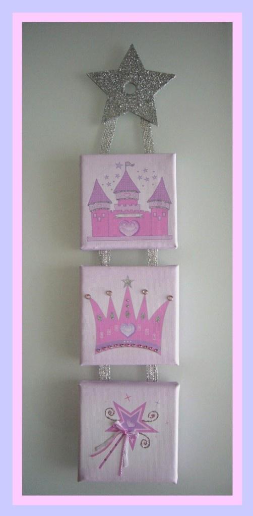 Personalised Girls Princess Design Printed Canvas Wall Hanging