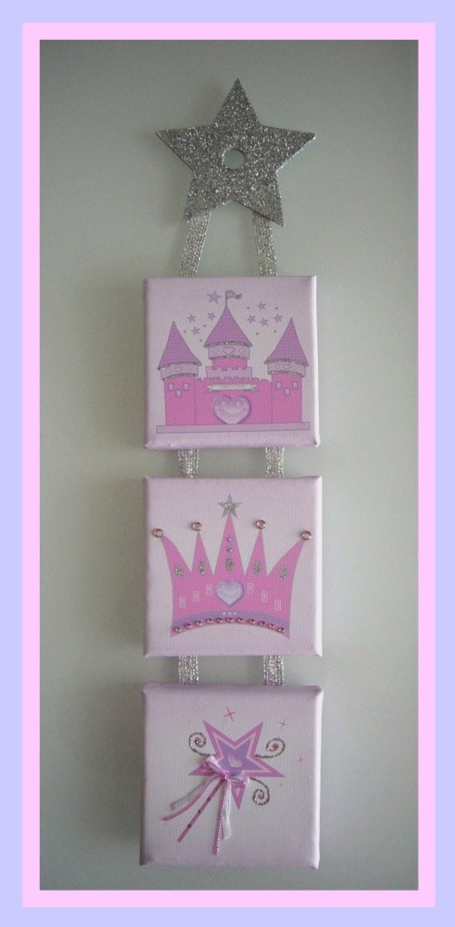 Personalised Girls Princess Design Printed Canvas Wall Hanging
