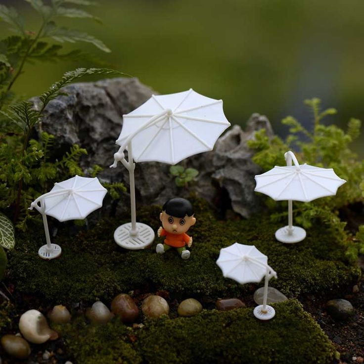 Miniatures Doll Mediterranean white sun umbrella Terrarium Figurines Resina Craft Miniature Garden Decor teraryum aksesuarlar