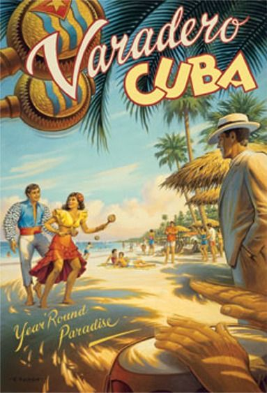 images of travel posters | Varadero Cuba travel poster reprint from 1930