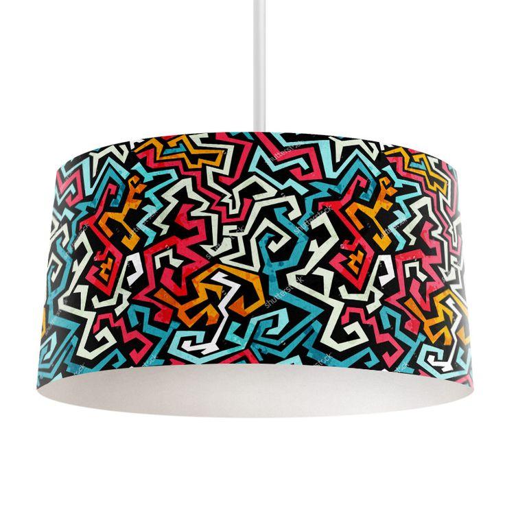 Lampenkap Graffiti patroon   Bestel lampenkappen voorzien van digitale print op hoogwaardige kunststof vandaag nog bij YouPri. Verkrijgbaar in verschillende maten en geschikt voor diverse ruimtes. Te bestellen met een eigen afbeelding of een print uit onze collectie. #lampenkap #lampenkappen #lamp #interieur #interieurdesign #woonruimte #slaapkamer #maken #pimpen #diy #modern #bekleden #design #foto #patroon #graffiti #art #kunst