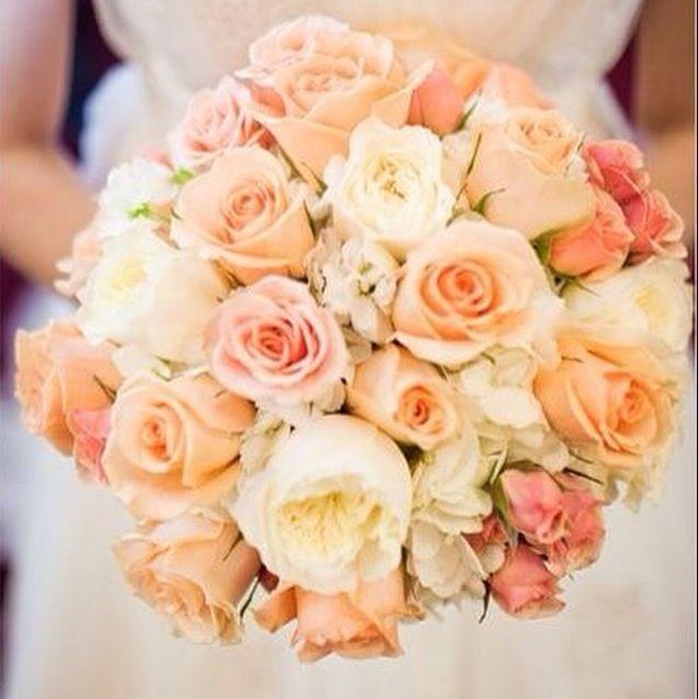 Peach pink wedding bouquet