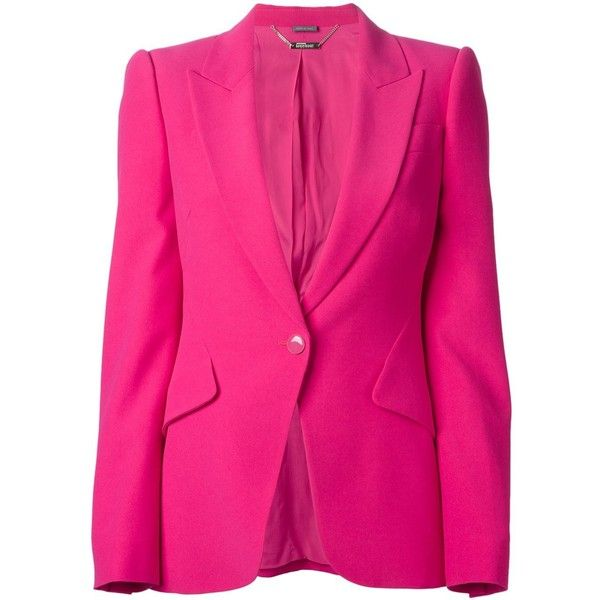 Alexander McQueen one button blazer ($1,090) ❤ liked on Polyvore featuring outerwear, jackets, blazers, alexander mcqueen jacket, long sleeve jacket, long sleeve blazer, alexander mcqueen blazer and pink jacket
