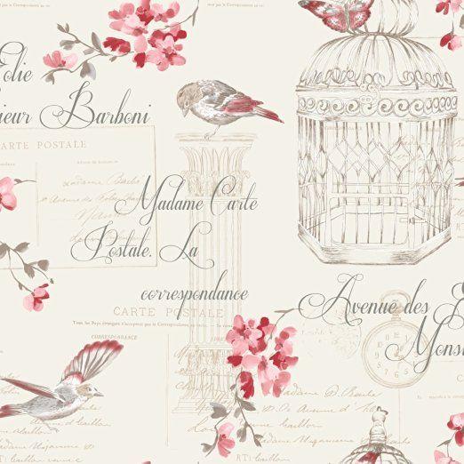 HOLDEN DECOR Tapete Voliere Vögel Blumenmuster Motiv Französische Schrift - Rot Creme 11317