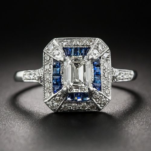 .69 Carat Emerald-Cut Art Deco Style Diamond and Calibre Sapphire Ring