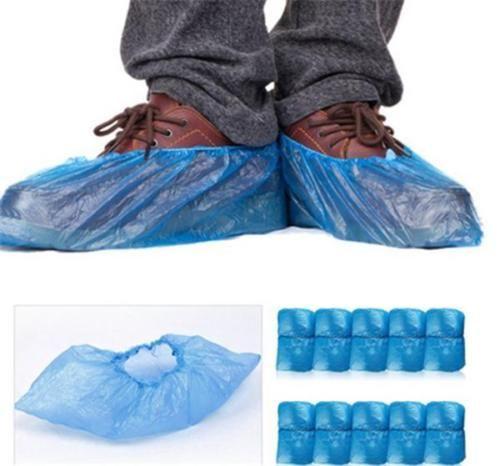 100PCS-azul-desechables de plástico a prueba de lluvia-raquetas-Covers-Overshoes-Útil