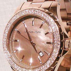 New Michael Kors Womens Madison Swarovski Crystal Rose Gold Watch MOP MK5453 way