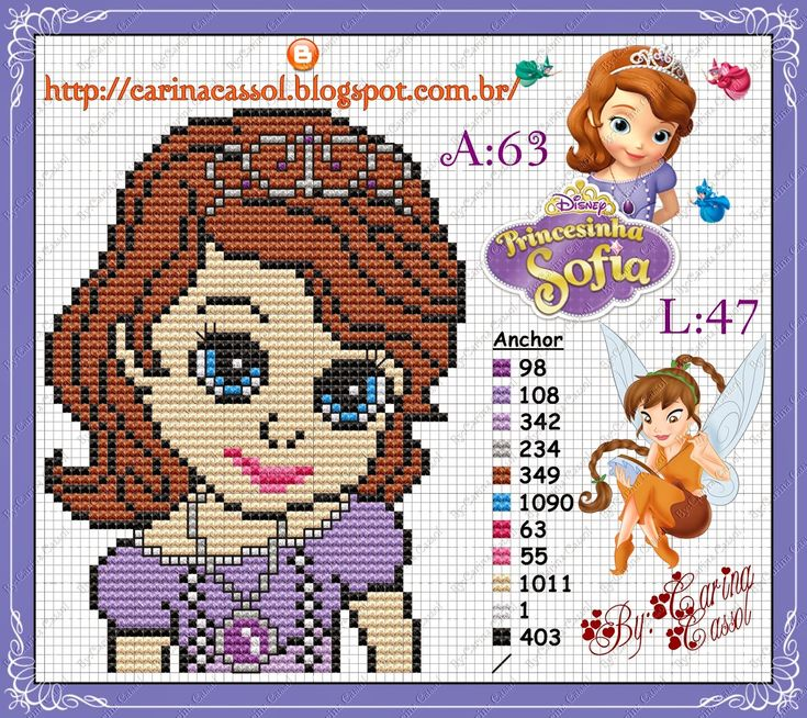 Princess Sofia perler bead pattern by Carina Cassol
