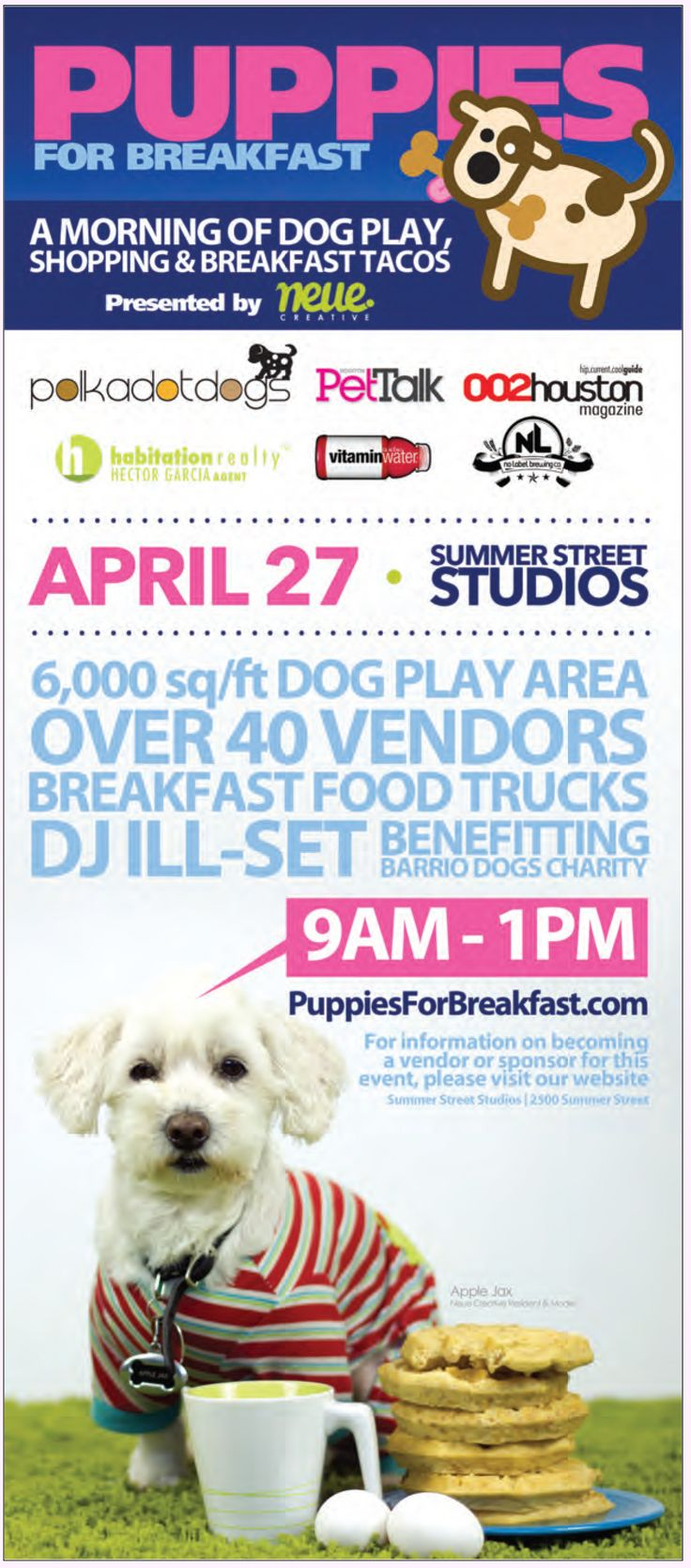 Tomorrow from 9am-1pm is Puppies For Breakfast! The puppy-loving event is a fundraiser benefitting Barrio Dogs Charity that's filled with dog play, breakfast taco trucks, and shopping!