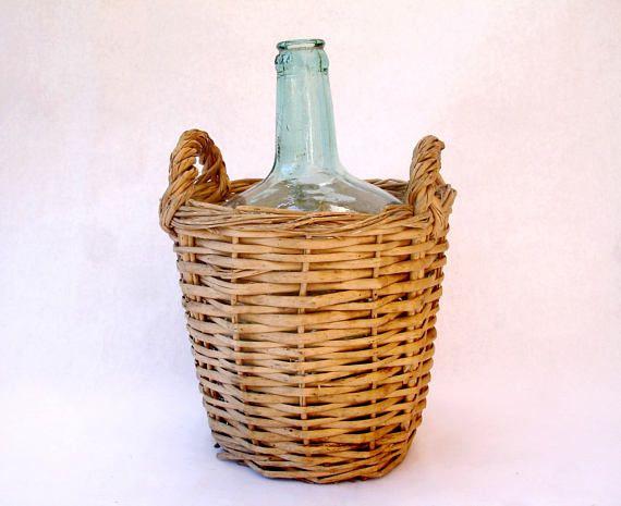 Vintage small wicker covered demijohn, Viresa wicker covered bottle, dame-jeanne habillé rotin