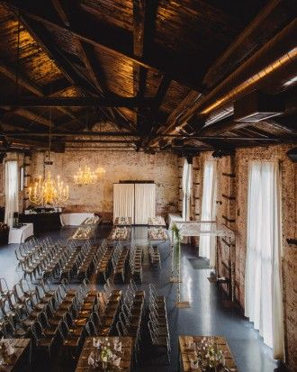 Restored Warehouses Where You Can Tie the Knot - Built in 1889, the Green Building (dubbed for the exterior shade) was originally constructed as a brass foundry. It has since been restored and has more than 6,000 square feet of combined indoor and outdoor space.
