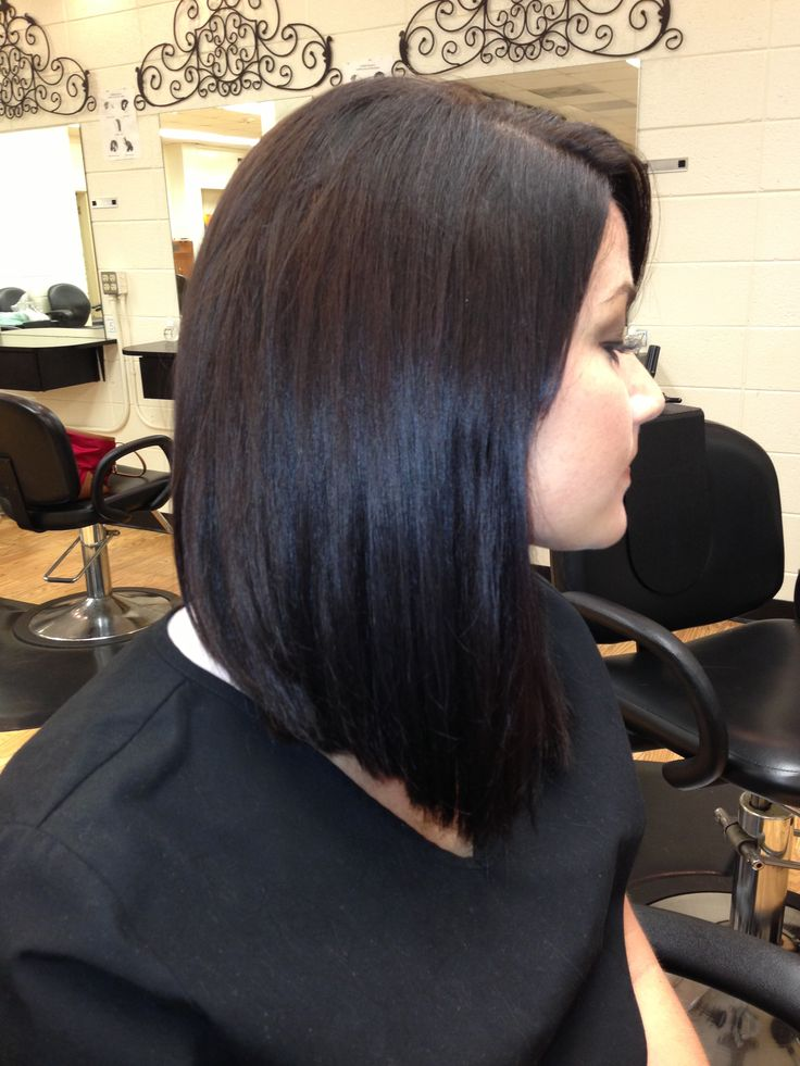 Other side of the long inverted bob I cut