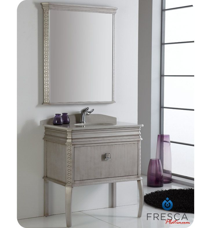 Photo Image London Inch Antique Silver Bathroom Vanity with Swarovski Handles