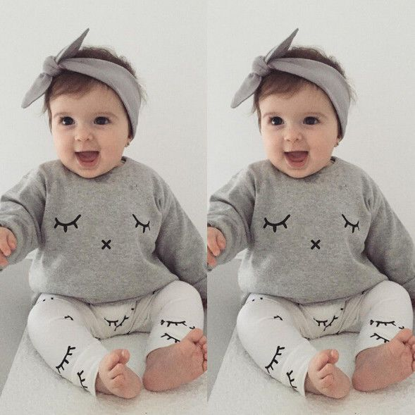 2016 Newborn Baby Boys Girls Clothes Toddler Kids Casual T-shirt Tops+Long Pants Outfits Clothing Sets