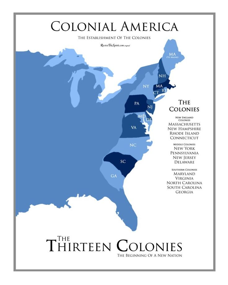 The 13 Colonies Map - ReviveTheSpirit.com