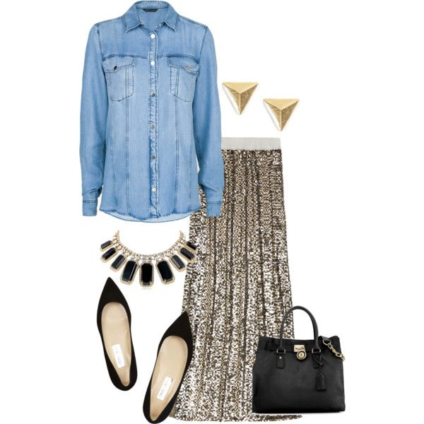 """""""Long Sequin Skirt"""" by jessica-allman on Polyvore"""