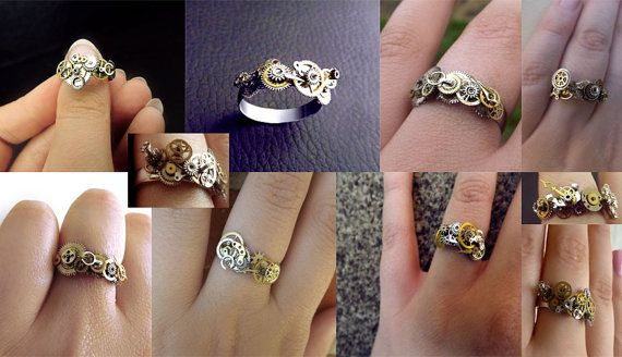 Custom made Steampunk ring, stainless steel unisex steampunk ring, watch gear ring, silver, bronze and gold ring, OOAK