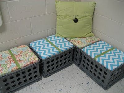 Plastic carton chairs How-ToTenth Avenue, Classroom Book Storage, Classroom Decor, Sweets Seats, Milk Crates, Avenue South, Book Storage Classroom, Crates Seats, Classroom Libraries