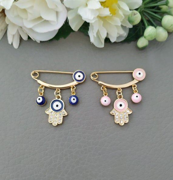 Evil Eye Baby Pin Newborn Baby Gift Baby Shower Gift Gold Etsy In 2020 Newborn Baby Gifts Evil Eye Jewelry Eye Jewelry