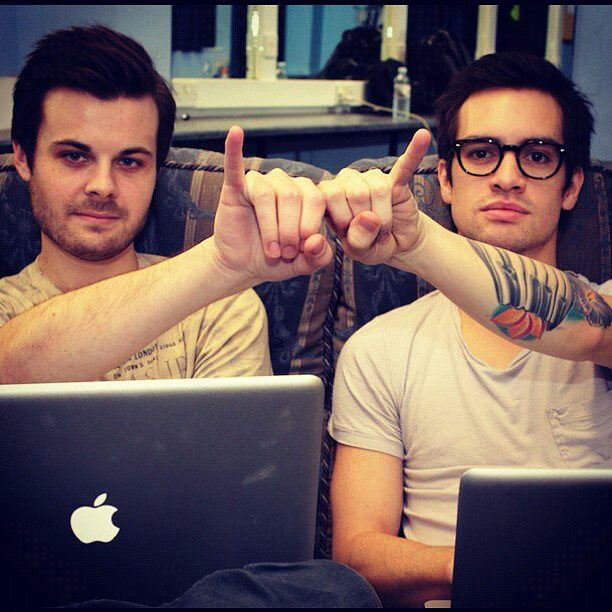 brendon urie and spencer smith...repin, but an all-time fave! Too much rock for one hand!!