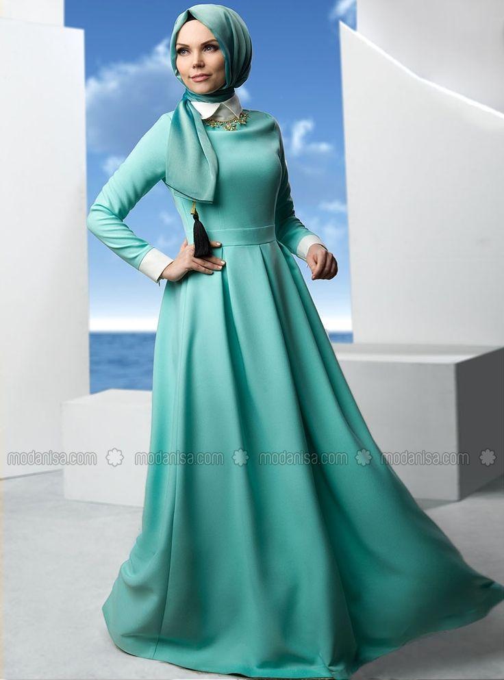 Kloş Elbise - Mint - Müslima Wear