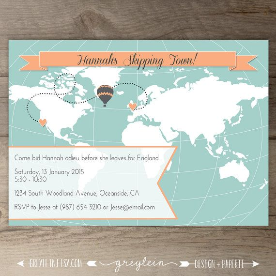 world map going away party invitations goodbye party invites custom moving announcements hot - Going Away Party Invite
