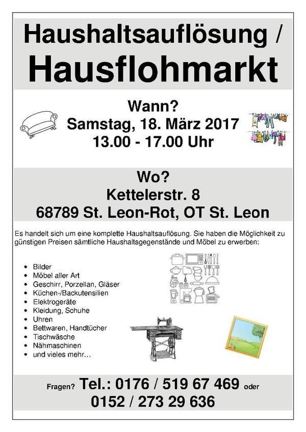 Vintage Haushaltsaufl sung Hausflohmarkt Haushaltsaufl sungen aus St Leon Rot St Leon