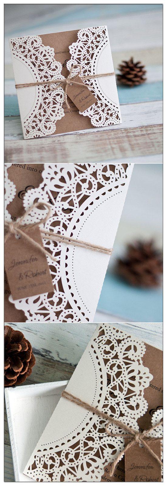 affordable country rustic laser cut wedding invitations EWWS040
