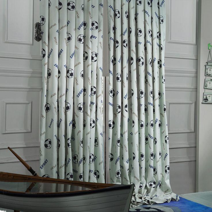 Sports Blue Soccer Ball Kids Curtain  #curtains #decor #homedecor #homeinterior #blue