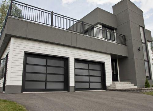 Modern black aluminum garage doors