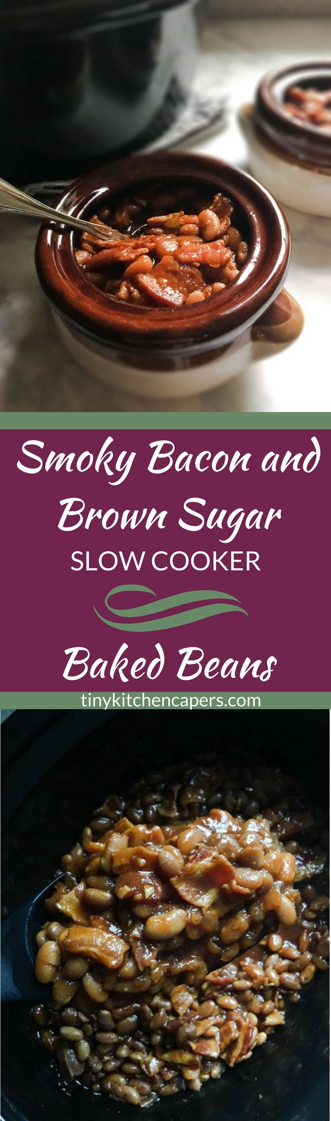 Made from scratch slow cooker baked beans with applewood smoked bacon in a sweet sauce of brown sugar, maple, and so much more! | tinykitchencapers.com
