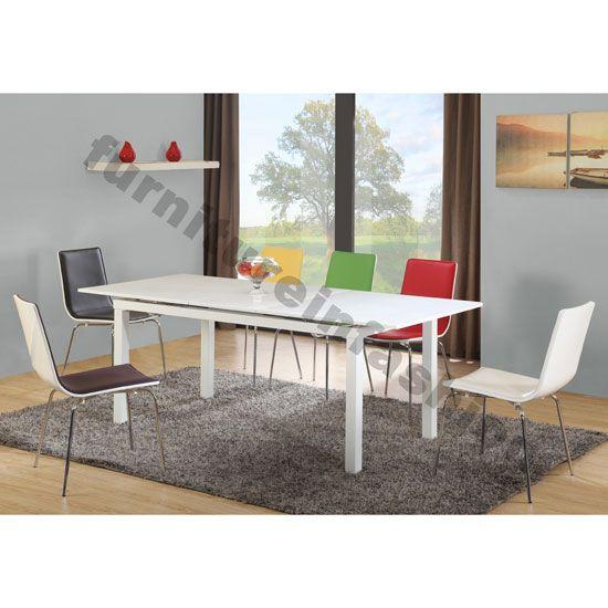 Multi Extending Gloss White Dining Table Only