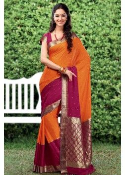Multi-Colour Zari Weaved Crepe Saree with Heavy Pallu - SR2633