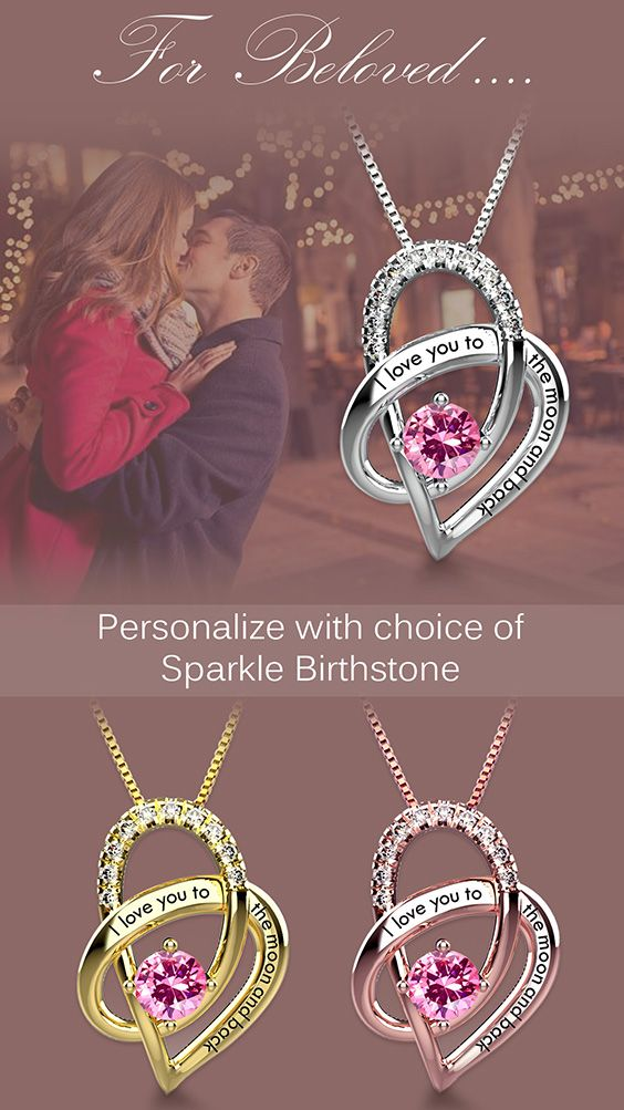 f9c11343f9 Are you ready? Spoil your beloved one with I love you to the moon and back  necklace. Personalize your sparkle birthstone now.