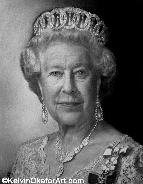 """""""queen elizabeth ii"""" kelvin okafur  cool pencil drawings"""