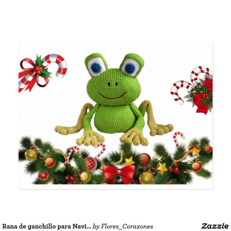 Postal Rana de ganchillo para Navidad con sus dulces ....