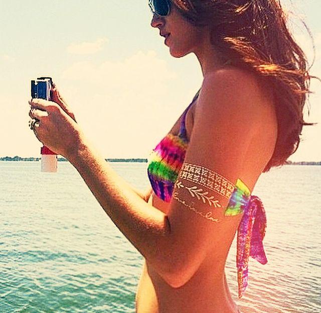 Beach summer bling metallic flash tattoo