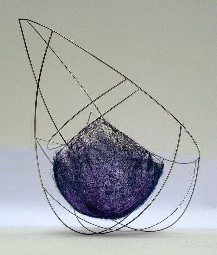© Emer Duffy  'Float' Copper Wire in lilac and blue draped within Stainless steel structure attatched by silver tubing element.