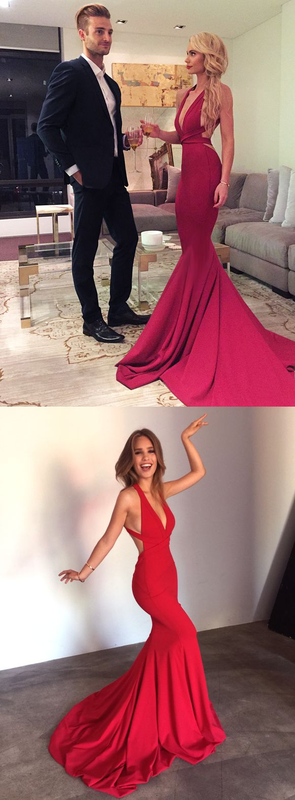 2017 long prom dress, red long prom dress, mermaid long prom dress, formal evening dress