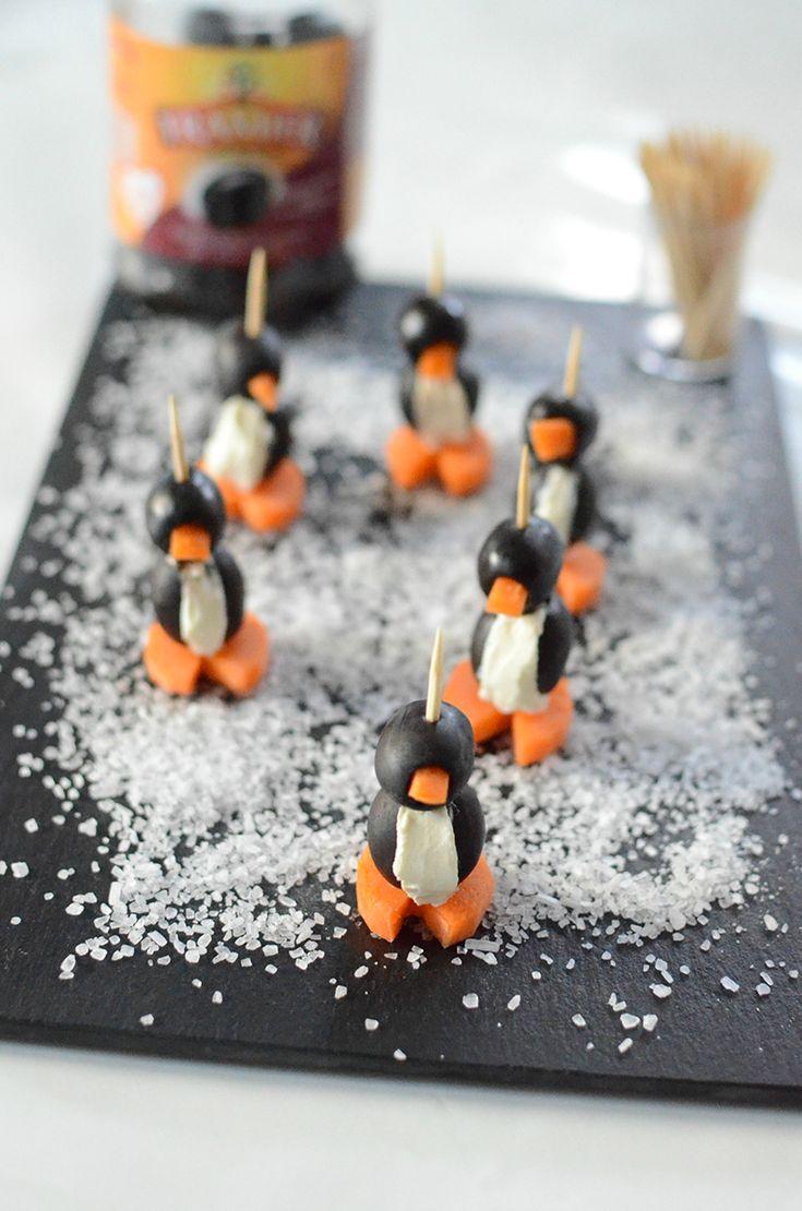 Un apéritif ludique et rigolo   Voici une présentation qui fait son effet lors d'un apéro dînatoire. Les enfants seront ravis de croquer un pingouin pour s'amuser, et ils se feront un plaisir de donner un coup de main pour la confection de