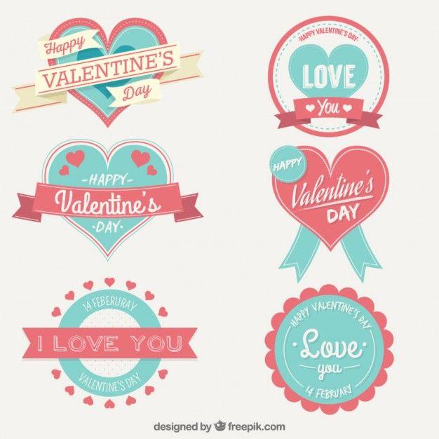 Dia bonito dos namorados etiqueta a coleção Vetor grátis