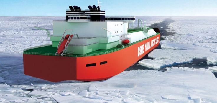 World's First Ice-Breaking Tanker Ships Will Plough Through Arctic Route http://www.popsci.com/worlds-first-ice-breaking-tanker-ships-open-arctic-route?utm_content=bufferb707e&utm_medium=social&utm_source=pinterest.com&utm_campaign=buffer #Daewoo #LNG #Arctic