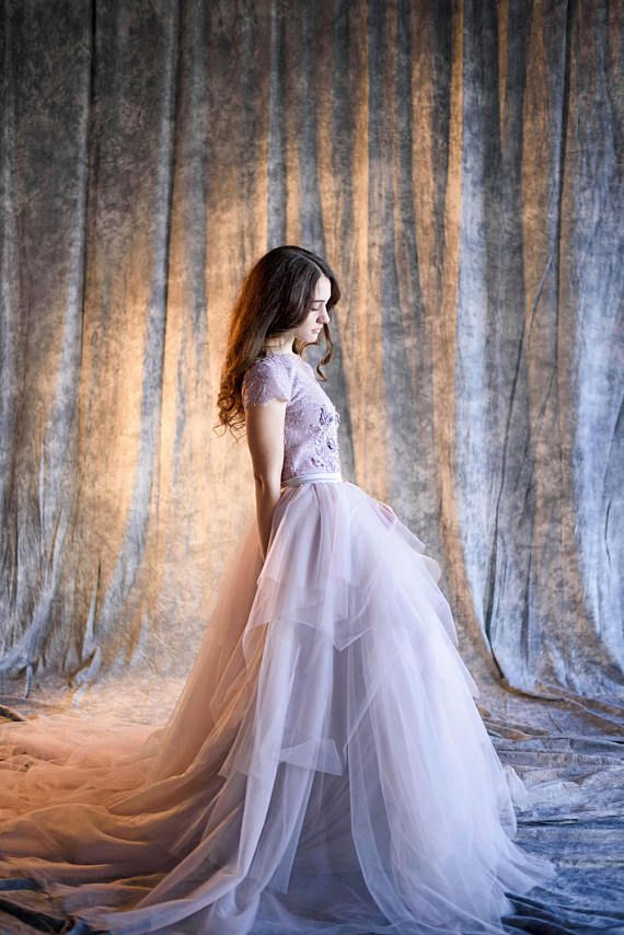 Lilac wedding dress Wisteria Violet gray wedding dress