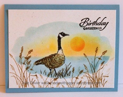 handmade card ... sunset with Canada Goose ... sponged sun, water and sky in area masked with negative space from a labels die cut ... luv how the goose and grasses are stamped in brown and the goose colored  ... Stampin' Up!