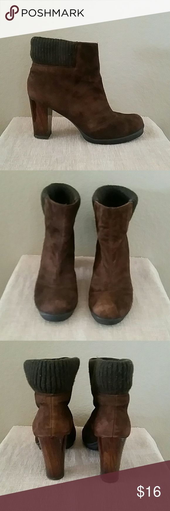 Kenneth Cole reaction brown heeled boots Kenneth Cole reaction Rose is a Rose heeled boots, pull on style, sweater top, 8 1/2 M, sweater top has slight pilling, 3 1/2 inch heel, block type heel, booties Kenneth Cole Reaction Shoes Ankle Boots & Booties