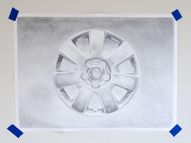 Michiel Pelerents, artist: Wheel coverGraphite on paper, 77x55cm.